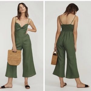 FAITHFUL THE BRAND Presley Linen Jumpsuit green